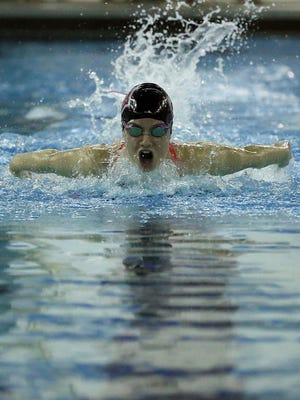 Glendale's Macie Beairsto competes in the 100 yard butterfly during regional High School Swimming at the Foster Natatorium in Springfield on February 13, 2016.
