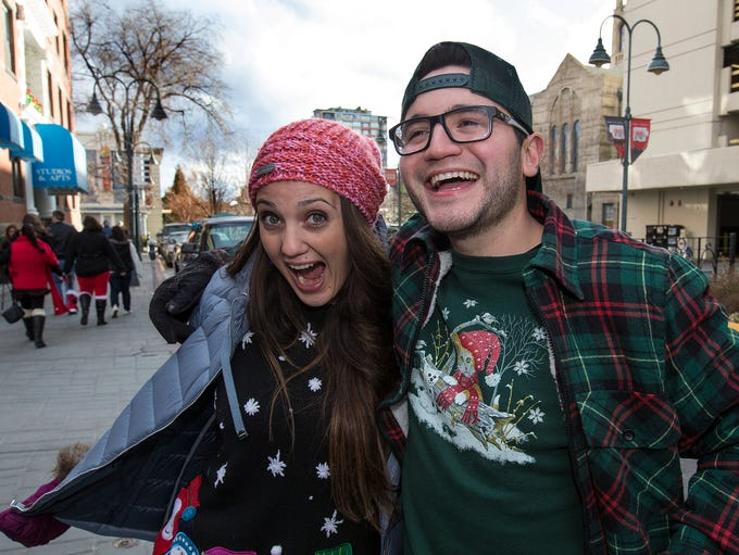 A photograph taken during the Ugly Sweater Wine Walk