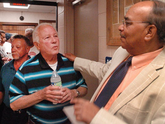Charles Renaud, La. State Rep. District 40 candidate, talks with former Louisiana Governor Edwin Edwards after participating in a political forum Tuesday in Palmetto. See a photo gallery at dailyworld.com and on Facebook.