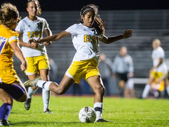 Elco's Tanisha Grewal rips a shot that would find the