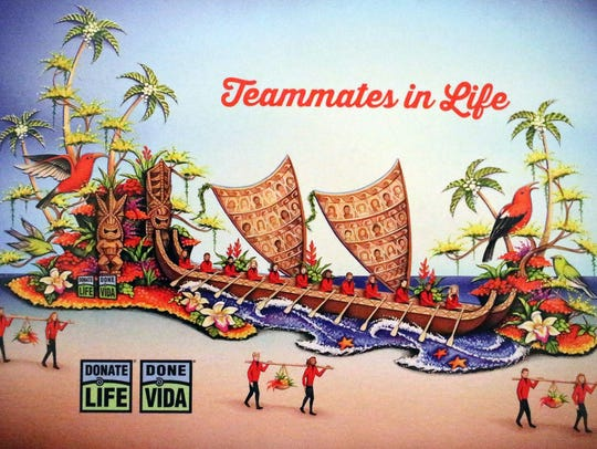 The Donate Life float in the Tournament of Roses Parade