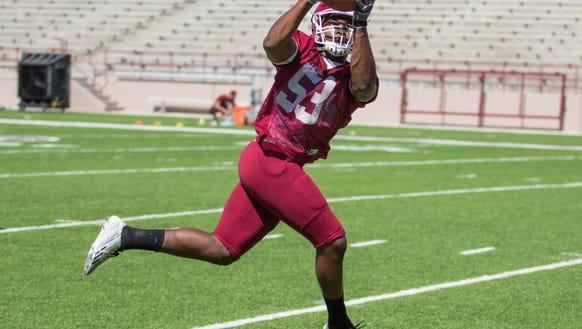 New Mexico State senior linebacker Rodney Butler has