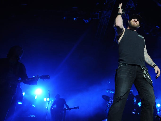 Brantley Gilbert performing during his Gilbert concert