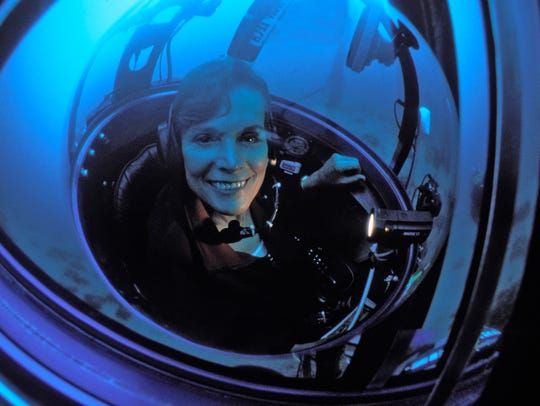 Sylvia Earle, Ph.D. sits on a tiny one person submersible called the Deep Worker. Earle is one of six finalists for the 2018 Indianapolis Prize, the world's top animal conservation award with a $250,000 cash prize.