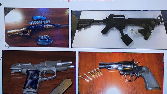 Law enforcement officials showed pictures Friday of some of the illegal firearms recovered by Rockford police during the last 11 months.