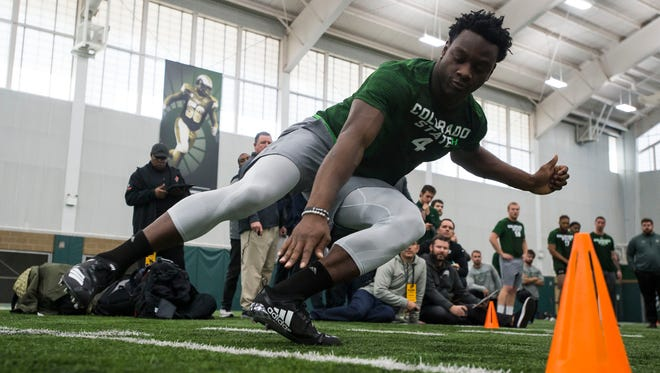 CSU wide receiver Michael Gallup (4) participates in a drill for CSU's pro day on Wednesday, March 7, 2018, at Colorado State University's indoor practice facility in Fort Collins, Colo.