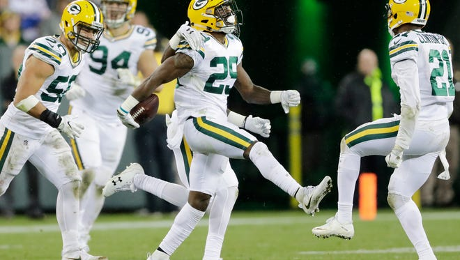 Green Bay Packers defensive back Kentrell Brice (29) celebrates after an interception against the Chicago Bears in the third quarter Sept. 28, 2017 at Lambeau Field.