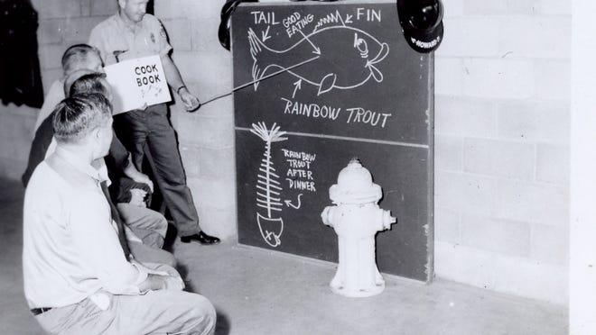 Preparing for the annual Fish Fry, circa 1950.