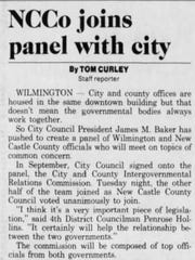 "A Jan. 13, 1993 News Journal story announces the formation of the City and County Intergovernmental Relations Commission, which County Councilman Penrose Hollins called ""very important."""