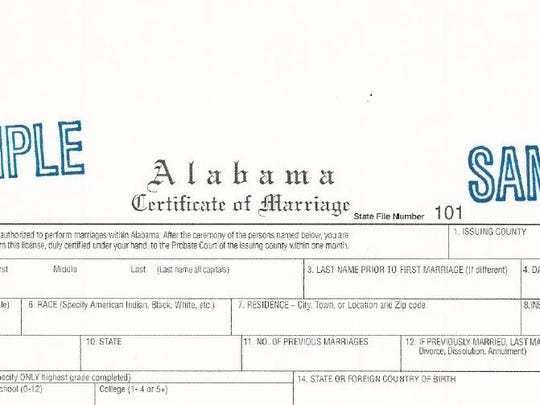 A template for a marriage license, issued by the Alabama Department of Public Health earlier this year.