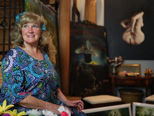 Tallahassee artist Stuart Riordan at her home studio