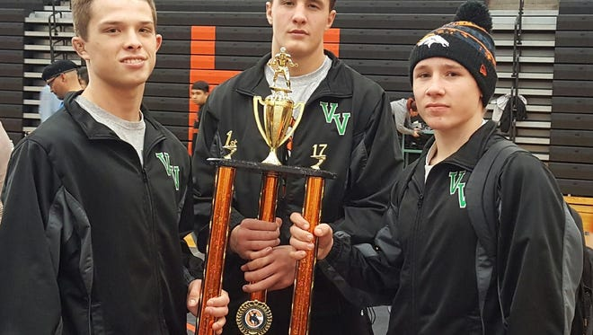 From left, Virgin Valley wrestlers Jacob Baird, Cresent Crandall and Ty Smith all won first place in their respective weight divisions last weekend to lead the Bulldogs to the team title at the Chaparral Invitational in Las Vegas.