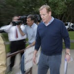 NFL Commissioner Roger Goodell arrives at the headquarters of the National Domestic Violence Hotline in Austin on Saturday.