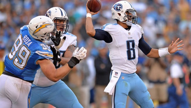 Titans quarterback Marcus Mariota (8) threw for 313 yards Sunday against the Chargers, but he also accounted for three turnovers.