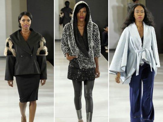 Models, wearing Mila Pershyna's designs, strut the