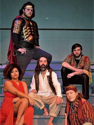 "Starring in the EPAC Repertory Company production of ""Jesus Christ Superstar"" are, at back, Matthew Gaska; middle left to right, Shannah Hall, Joseph Foti and Nicholas Sewchek; at front, Colin Cook."