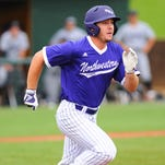 Northwestern State's Caleb Dugas run to first base during Friday's game.