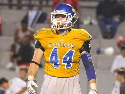 Three-star linebacker Jett Johnson reacts after a play during his junior season with Tupelo