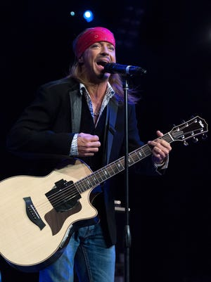 Bret Michaels performs on stage at Hard Rock Cafe New York on April 15, 2014.