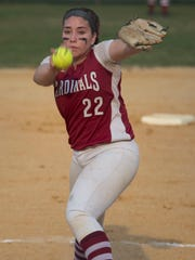 Pompton Lakes' DezMariah Cosgrove pitching during the
