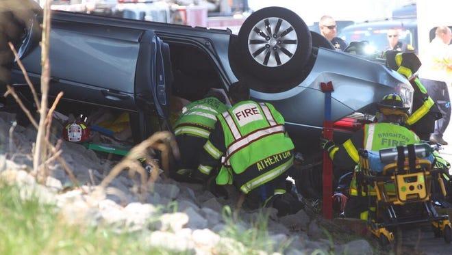 Emergency crews at crash scene.