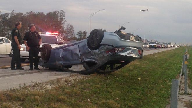 Rollover crash on I-75.