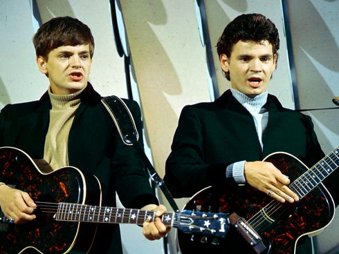 Musician Phil Everly, the younger half of the Everly Brothers, died Jan. 3, 2014, in Burbank, Calif. The duo perform in this 1965 photo.