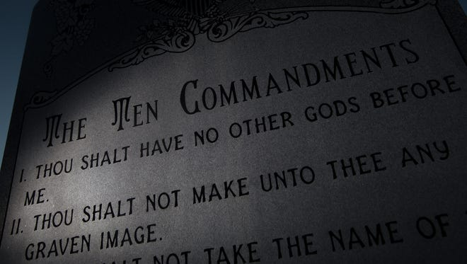 The Ten Commandments monument outside Bloomfield City Hall in New Mexico.