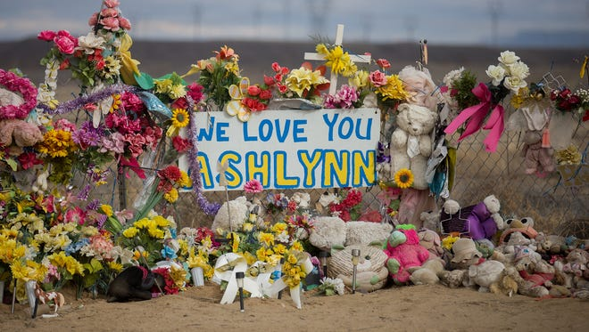 A memorial for Ashlynne Mike is pictured Jan. 17 near her home in Lower Fruitland.