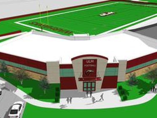 ULM's end zone facility will house a new locker room,