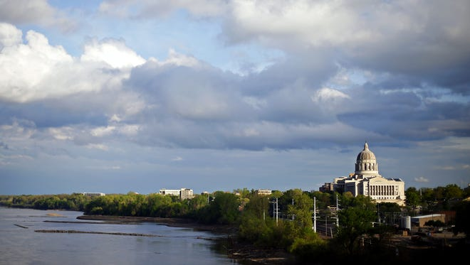 The Missouri State Capitol overlooking the Missouri River in Jefferson City.