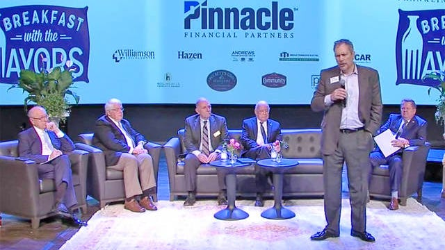 Thompson's Station Mayor Corey Napier speaks during the annual Breakfast with the Mayors panel last week in Franklin.