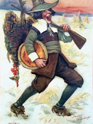 The exchange of holiday postcards was a popular pastime – especially at Thanksgiving. Just as popular were turkey shoots. A circa 1905 postcard depicts a giddy Pilgrim heading home with a bagged turkey, and a pumpkin pie under his arm.