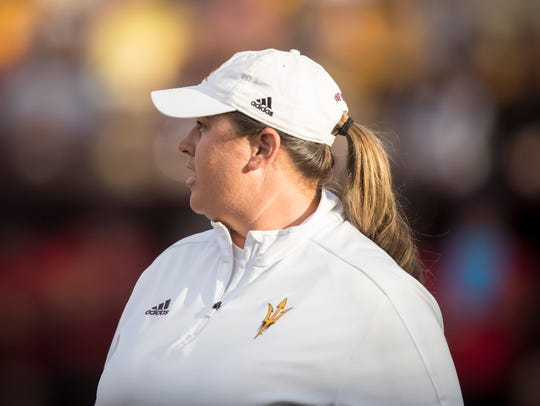 Arizona State Sun Devils head coach Trisha Ford stands