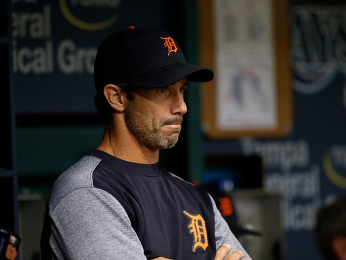 Detroit Tigers manager Brad Ausmus looks on from the