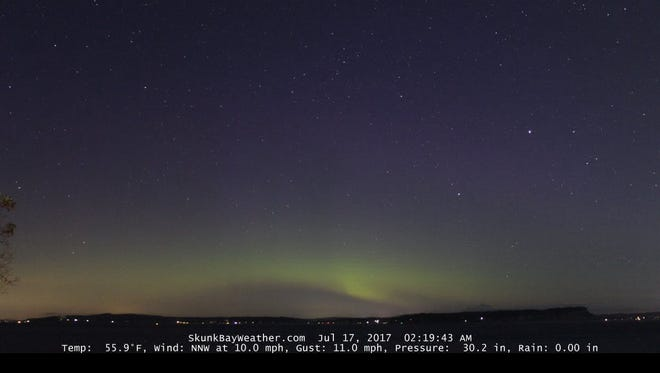 SkunkBayWeather.com captured this view of the early morning lights at 2:19 a.m. Monday.