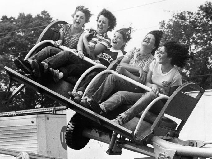 Fear and excitement register on the faces of these young visitors to the Indiana State fair in 1980.  From left are Lori Burgan, Tresa Boucher, Robin Nestleroad, Rhonda Sherron and Tracy Castillo all of Marion.