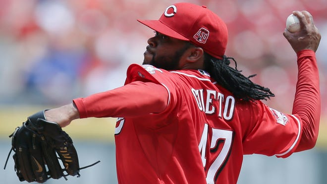 Cincinnati Reds starting pitcher Johnny Cueto throws in the fourth inning of a baseball game against the San Diego Padres, Sunday, June 7, 2015, in Cincinnati. The Reds won 4-0.
