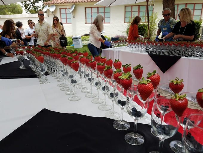 Guests are greeted by champagne at the entrance to