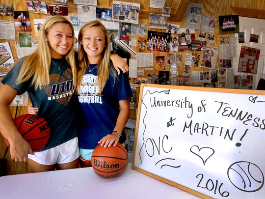 (L to R) Ansley Eubank and Emily Eubank two former Oakland standouts who are going to be playing at UT-Martin in the fall are photographed at thier home, on Thursday, June 23, 2016.