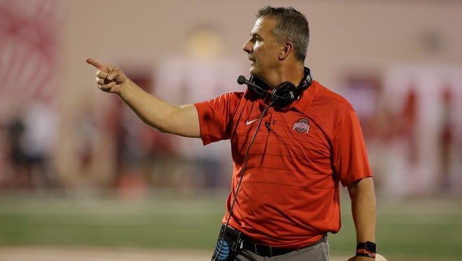 Ohio State head coach Urban Meyer in action during the second half of an NCAA college football game against Indiana, Thursday, Aug. 31, 2017, in Bloomington, Ind. (AP Photo/Darron Cummings) ORG XMIT: BLS1