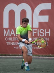 Nicolas Meija plays at the Mardy Fish Tennis Championships on April 26, 2018.