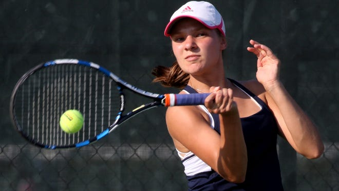 Brookfield East's Allison Brankle plays second singles against rival Brookfield Central at Central on Sept. 14.