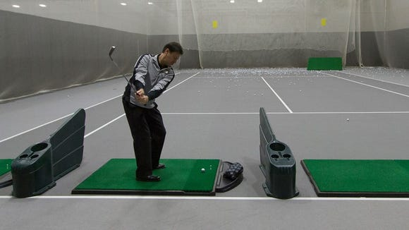 The indoor golf range is now open in the SentryWorld Fieldhouse.