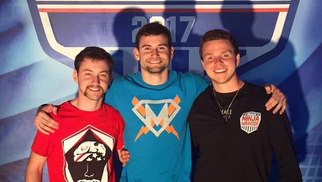 """Dalton Knapp, from left, Drew Knapp and Luke Jameson Chambers, all of Suamico, competed in the Denver qualifiers of """"American Ninja Warrior."""""""