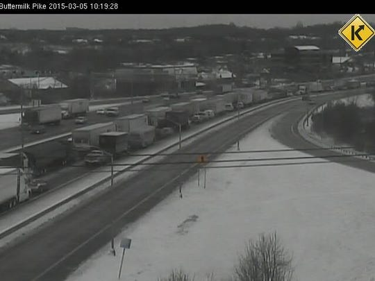 Northbound I-71/75 shut down near Buttermilk Pike Thursday morning in Northern Kentucky.