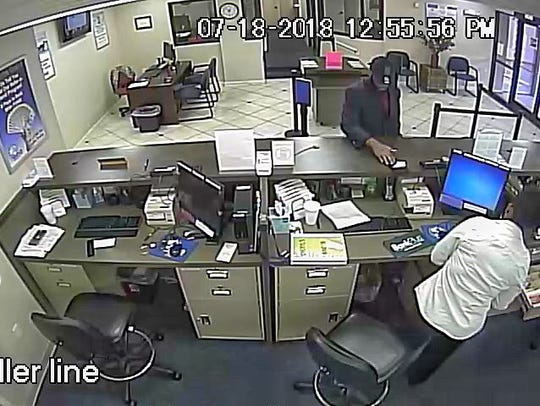 A surveillance image from FSNB in Jackson, Miss.