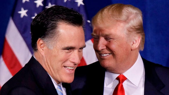 Romney and Trump during happier times in 2012.
