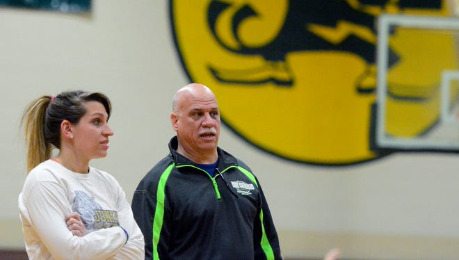 The father-daughter team of Kevin and Ashton Bankos coach the York Catholic girl's basketball team, Wednesday January 6, 2016. (John A. Pavoncello - The York Dispatch)