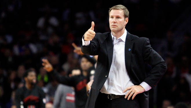 Oct 30, 2015; Auburn Hills, MI, USA; Chicago Bulls head coach Fred Hoiberg give thumbs up during the fourth quarter against the Detroit Pistons at The Palace of Auburn Hills. Pistons win in overtime 98-94.